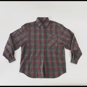 St. Michael Charcoal Red Plaid Long Sleeve Top 12